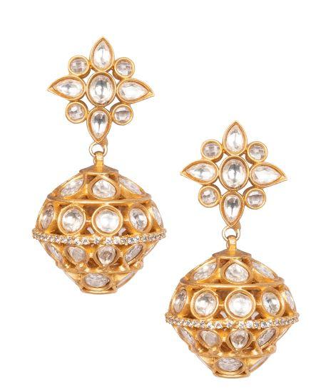 ARU DESIGNER DIAMOND BALL WITH KUNDAN TOPS GOLD PLATED