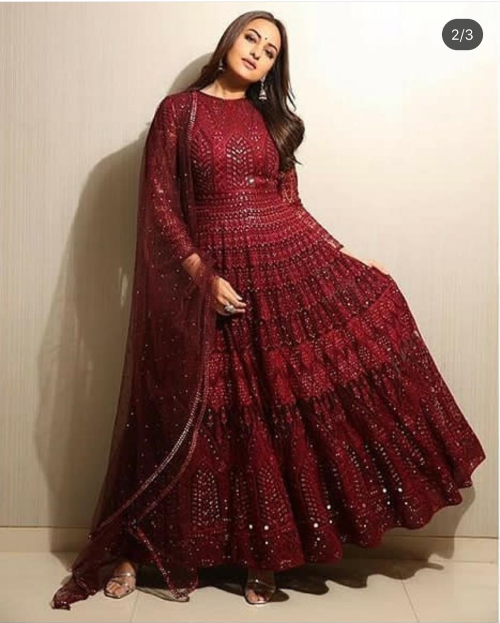 Sonakshi Sinha Georgette Gown With Dupptta Net Gown