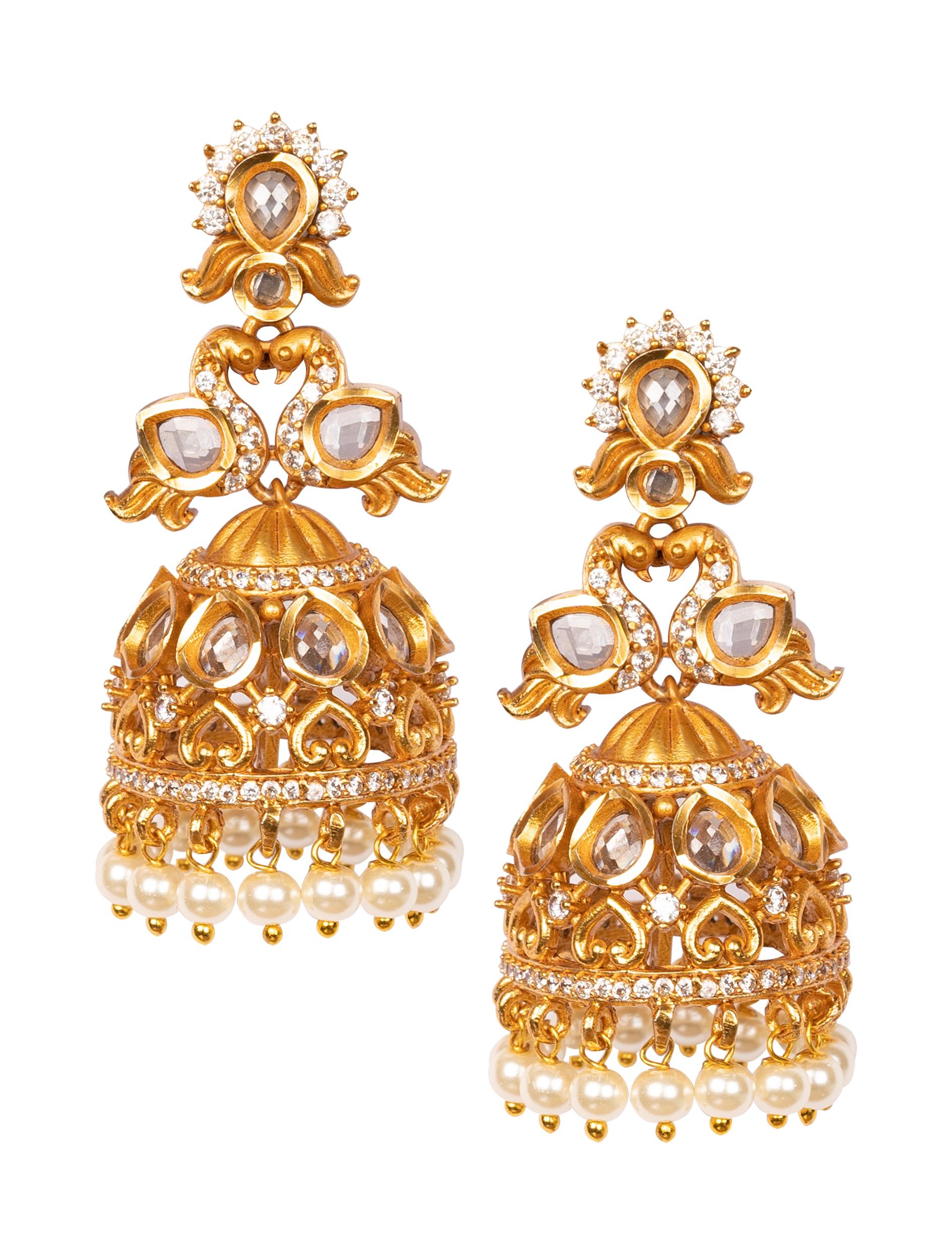 ARU  DESIGNER  AMERICAN DIAMOND WITH SHELL PEARLS PEACOCK JHUMKAS