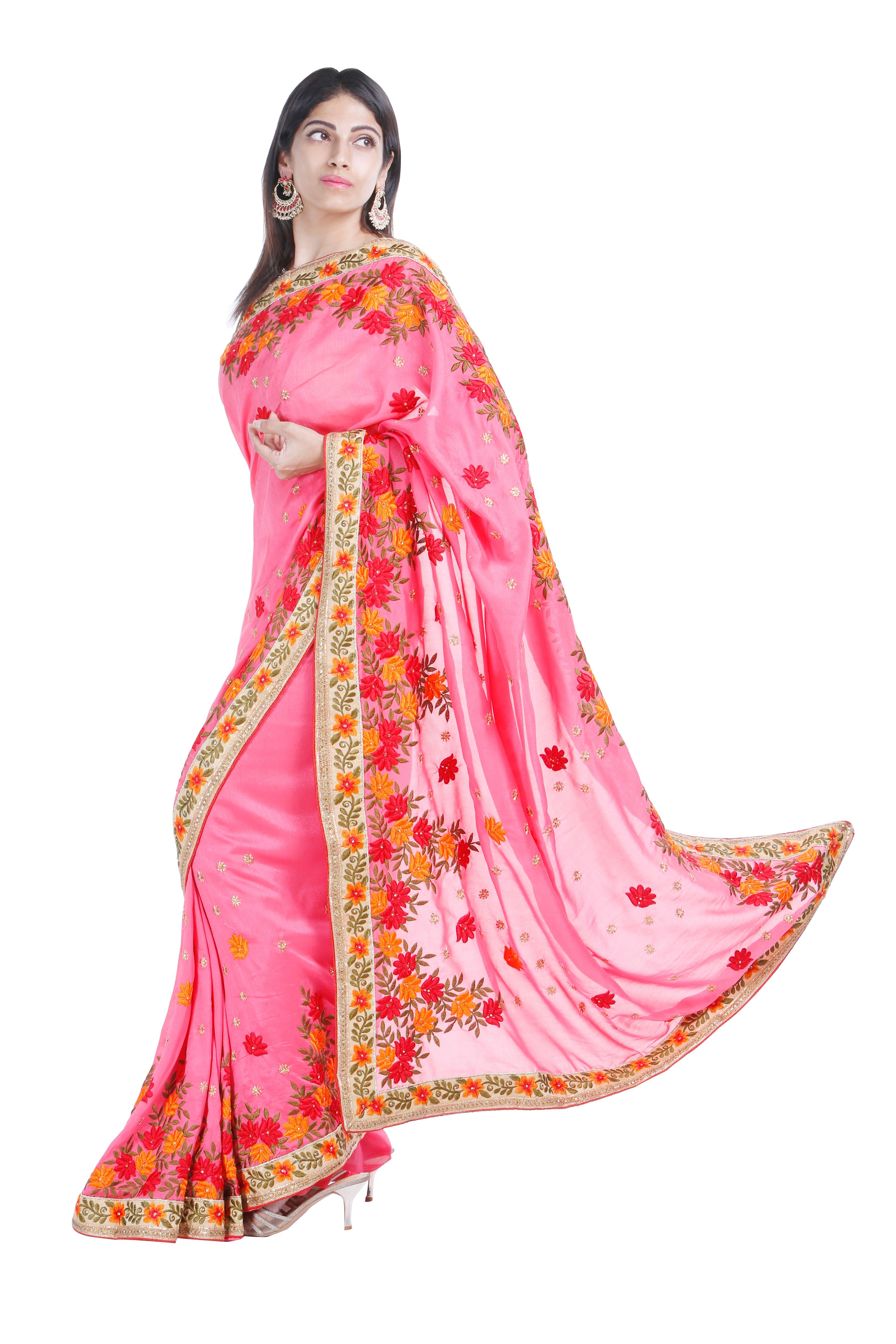 heavy embroidery crepe silk saree