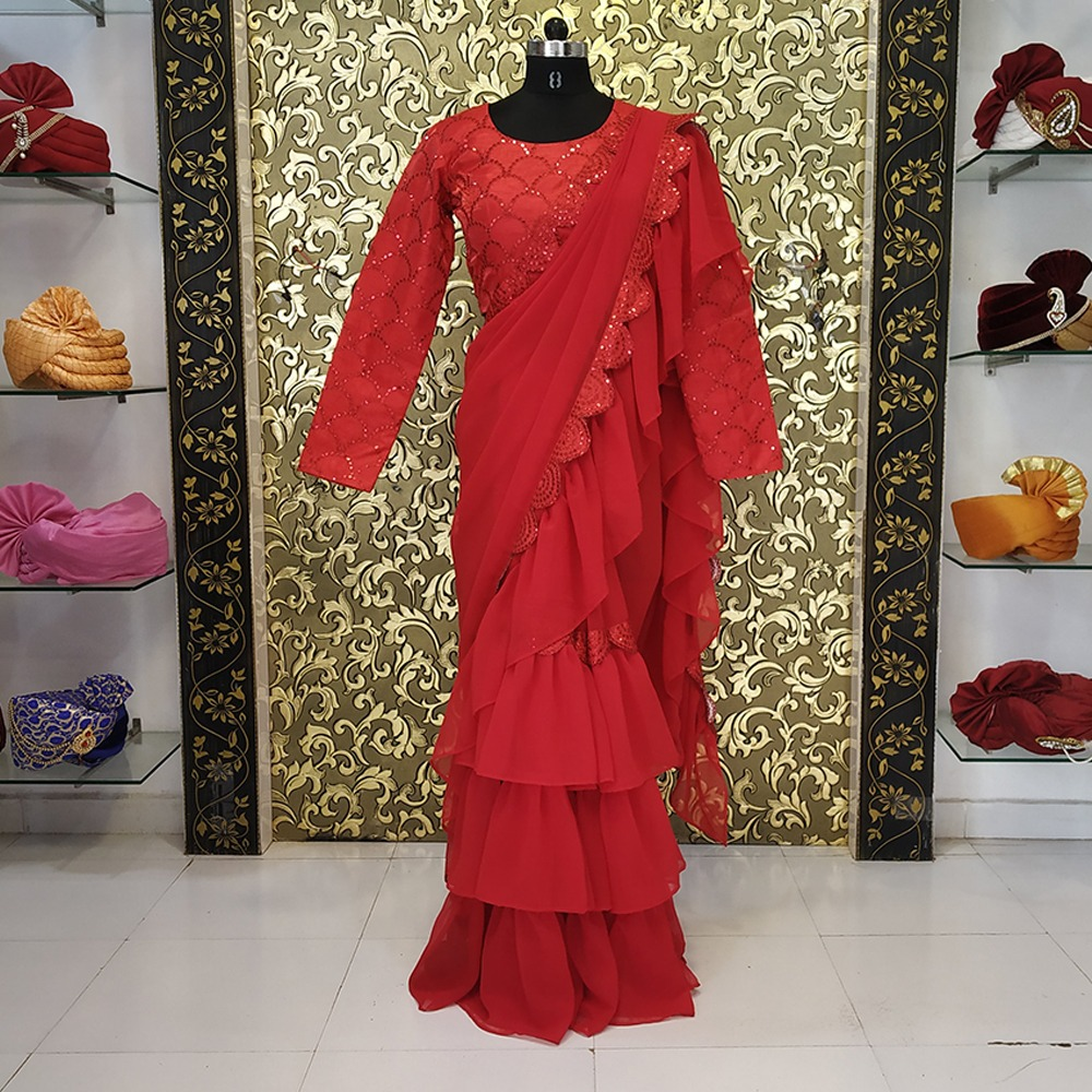 Ravina Red Ruffle Sare
